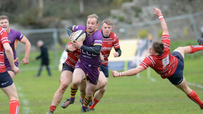 Marr full-back Greg Montgomery scored two of his team's nine tries against Aberdeen Grammar at Fullarton Park. Image: Ken Ferguson