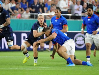 Darcy Graham in action for Scotland against Samoa at the World Cup. Image: Fotosport/Hiro Irie