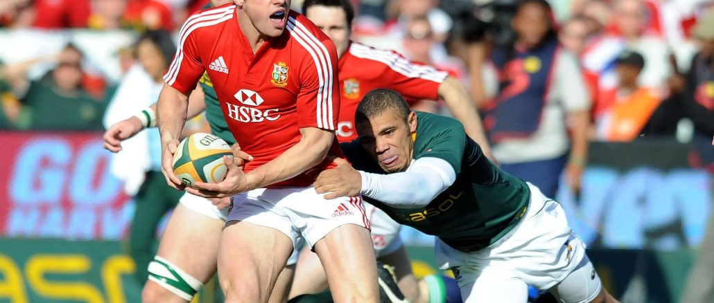 Tommy Bowe is tackled by Bryan Habana during the second Test of the 2009 tour. Image: David Gibson - Fotosport