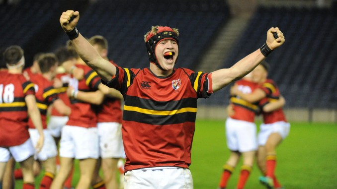Stewart's Mellvile No 8 Robert Gordon celebrates his team's victory. Image: Fotosport/David Gibson