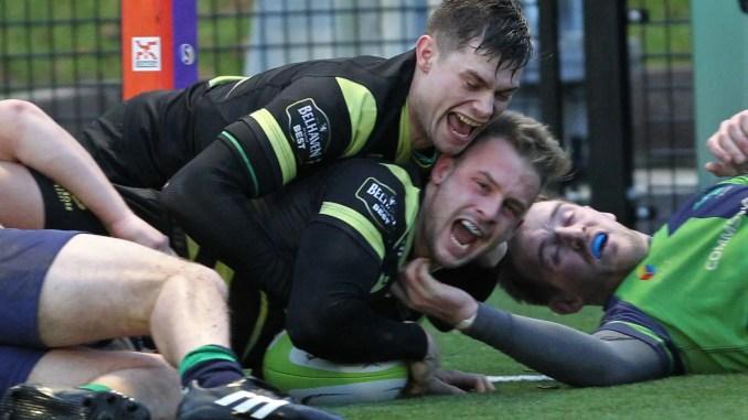 James Brown celebrates scoring Melrose's third try against Boroughmuir. Image: Douglas Hardie