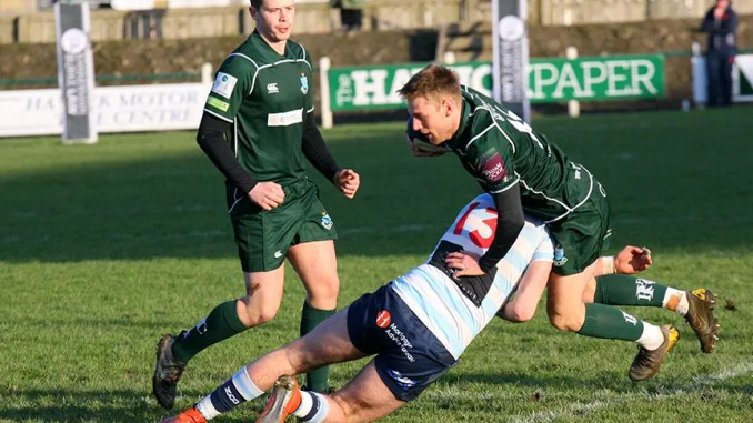 Hawick kept up their push for. home play-off with a convincing home win over Edinburgh Accies. Image: Kenny Baillie