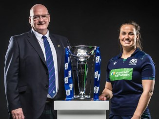 Scotland women's head coach Phillip Doyle and captain Rachel Malcolm at Wednesday's Six Nations launch in London. Image ©INPHO/Dan Sheridan