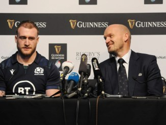 Scotland captain Stuart Hogg and head coach Gregor Townsend. Image: FOTOSPORT/ANDREW COWIE