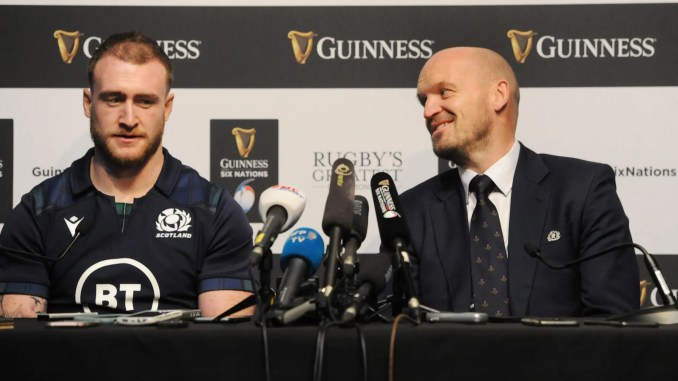 Scotland captain Stuart Hogg and head coach Gregor Townsend. Image: FOTOSPORT/ANDREW COWIE