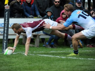 Gala's Ross Cooke dives in to score in the corner during last year's Melrose Sevens. Image: Fotosport/David Gibson