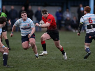Lyall Archer on the rampage in he lead-up to Glasgow Hawks' second try versus Edinburgh Accies. Image: FOTOSPORT/DAVID GIBSON