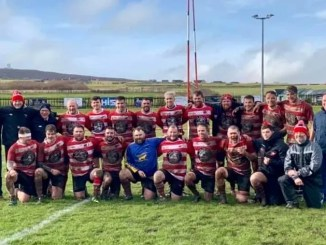 The Orkney team which picked up the club's 11th consecutive bonus-point win of the season against Dunfermline at the end of February. Image courtesy: Orkney Twitter feed