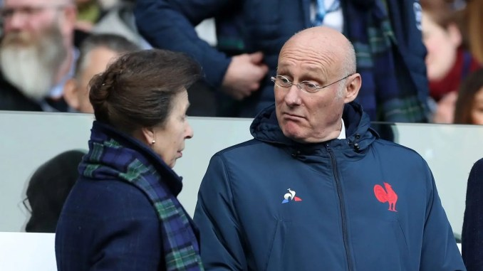 French federation President Bernard Laporte in discussion with Princess Anne ahead of Scotland's Six Nations clash against France last month. Image: FOTOSPORT/DAVID GIBSON