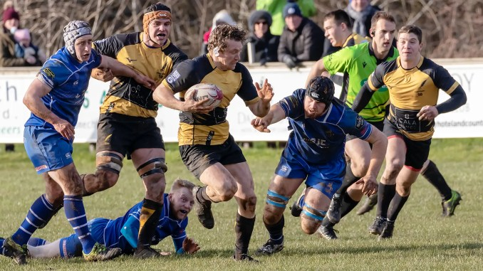 Fergus Scott leading from the front – as he did all season – against Jed-Forest. Image: Fraser Gaffney