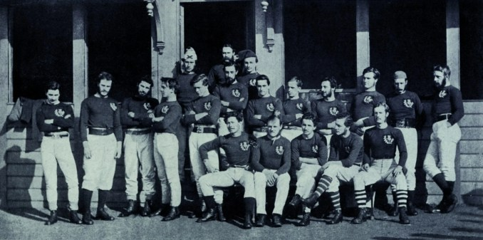 The Scotland team for the first ever international match against England at Raeburn Place in 1871