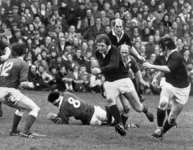 Gordon Brown on the charge for Scotland against Wales in front of a record crowd at Murrayfield in 1975.