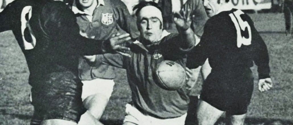 Ian McLauchlan charges down a clearance on his way to scoring a crucial try for the 1971 Lions' in their famous first Test victory over New Zealand
