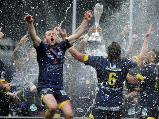 Clermont players celebrate after lifting the Challenge Cup following a 36-16 victory over fellow French opponents La Rochelle in last year's final at St James' Park in Newcastle. Image: Fotosport/David Gibson