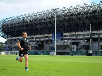 Glasgow Warriors centre Peter Horne trains on the back pitches at Murrayfield yesterday ahead of a return to action on 22nd August. Image: FOTOSPORT/DAVID GIBSON
