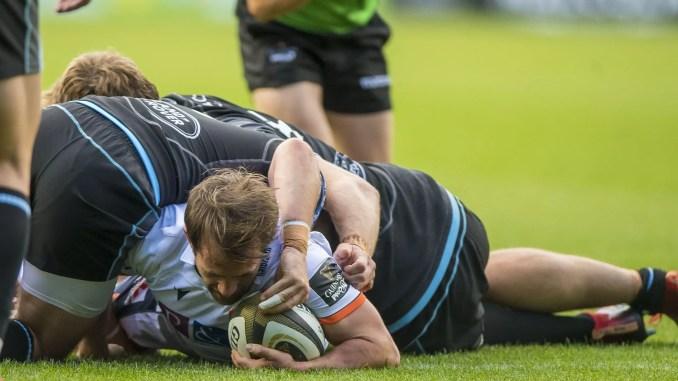 Nic Groom scores Edinburgh's opening try. Image: ©Craig Watson