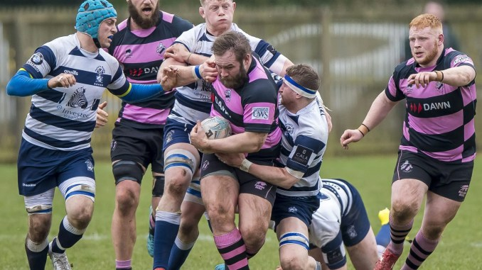 Steven Longwell carries the ball against Heriot's during the 2019 Premiership play-off Grand Final. Image: © Craig Watson - www.craigwatson.co.uk