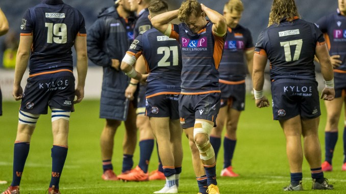 Darcy Graham shows what he felt about Edinburgh's loss last night. Image: © Craig Watson - www.craigwatson.co.uk