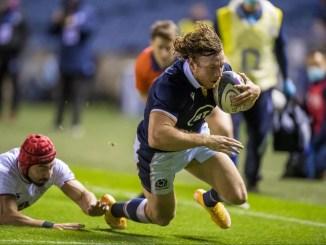 Hamish Watson dives in for Scotland's third try. Image: © Craig Watson - www.craigwatson.co.uk