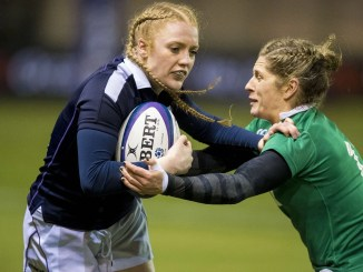 Megan Gaffney, in action here for Scotland against Ireland back in 2017, has organised the silent raffle. Image: © Craig Watson