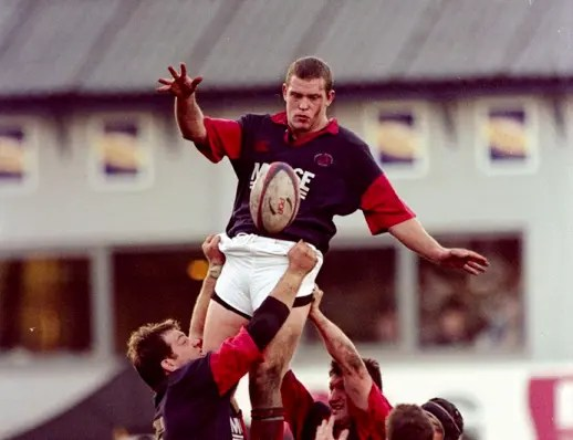 Hunter in action for London Scottish back in 1999.
