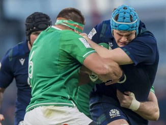 Scotland second-row Scott Cummings is tackled by CJ Stander. Image: © Craig Watson - www.craigwatson.co.uk