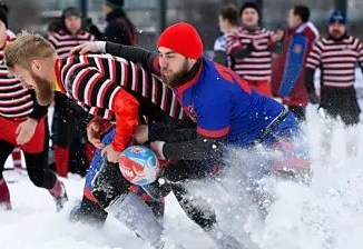 Snow rugby is all the rage in Russia
