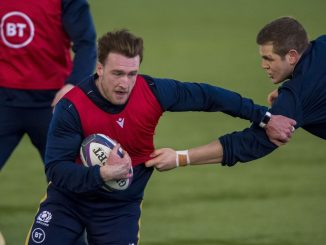 Stuart Hogg in training with the Scotland squad earlier this week. Image: Craig Watson