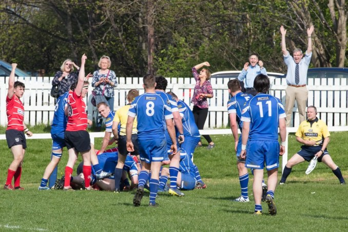Musselburgh RFC scoring a crucial, bonus-point winning try against Jed-Forest last season.