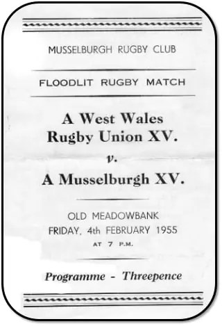 Programme from the first floodlit rugby match in Scotland in 1955