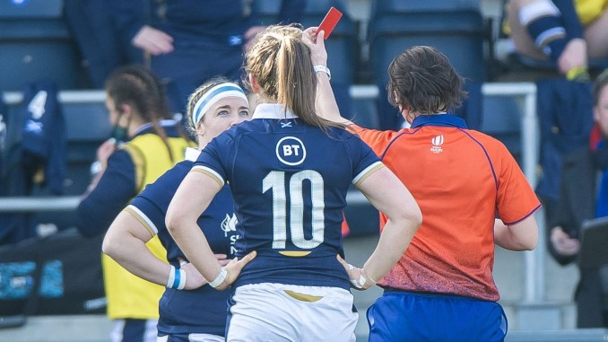 Molly Wright is red-carded during Scotland's defeat to England on Saturday. Image: © Craig Watson - www.craigwatson.co.uk