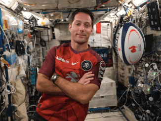 Thomas Pasquet supporting the Champions Cup Final from outer space. Image courtesy the astronaut's Twitter account.