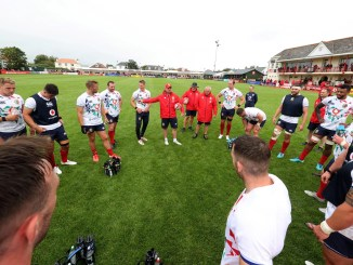 Gregor Townsend talks tactics with the Lions squad during training in Jersey earlier this week.
