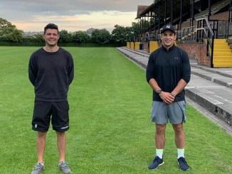 Alex Hagart and John Hardie, the Stewart's Melville coaching team for 2021-22 season, at Inverleith