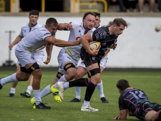 Ayrshire Bulls No8 Blair MacPherson - in action here against Southern Knights earlier in the season - has climbed to the top of the try-scoring table. Image: Craig Watson