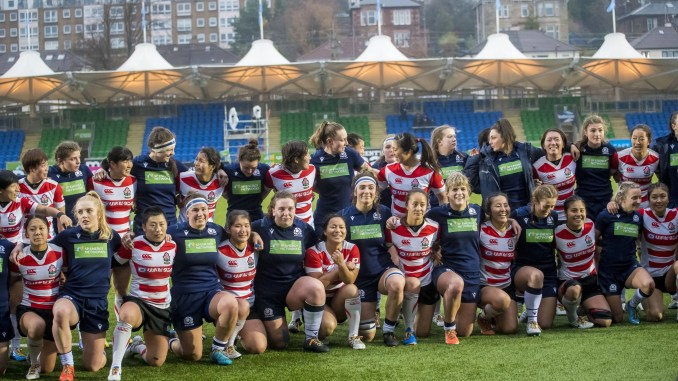 The Scotland and Japan teams together after their November 2019 clash at Scotstoun. Image: © Craig Watson - www.craigwatson.co.uk
