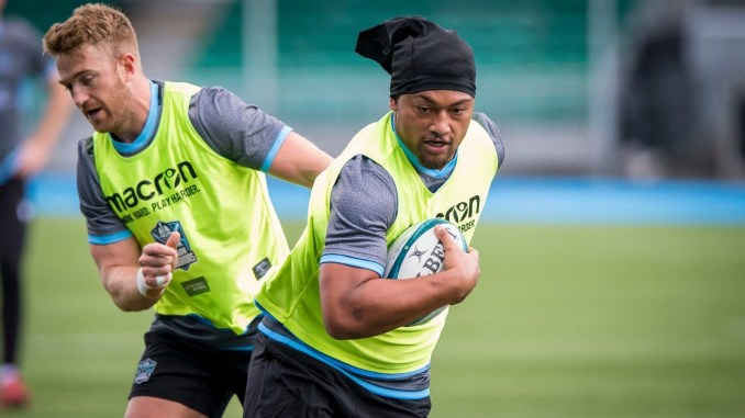 Walter Fifita in training with the Glasgow Warriors squad this [Tuesday] morning. Image: Craig Watson