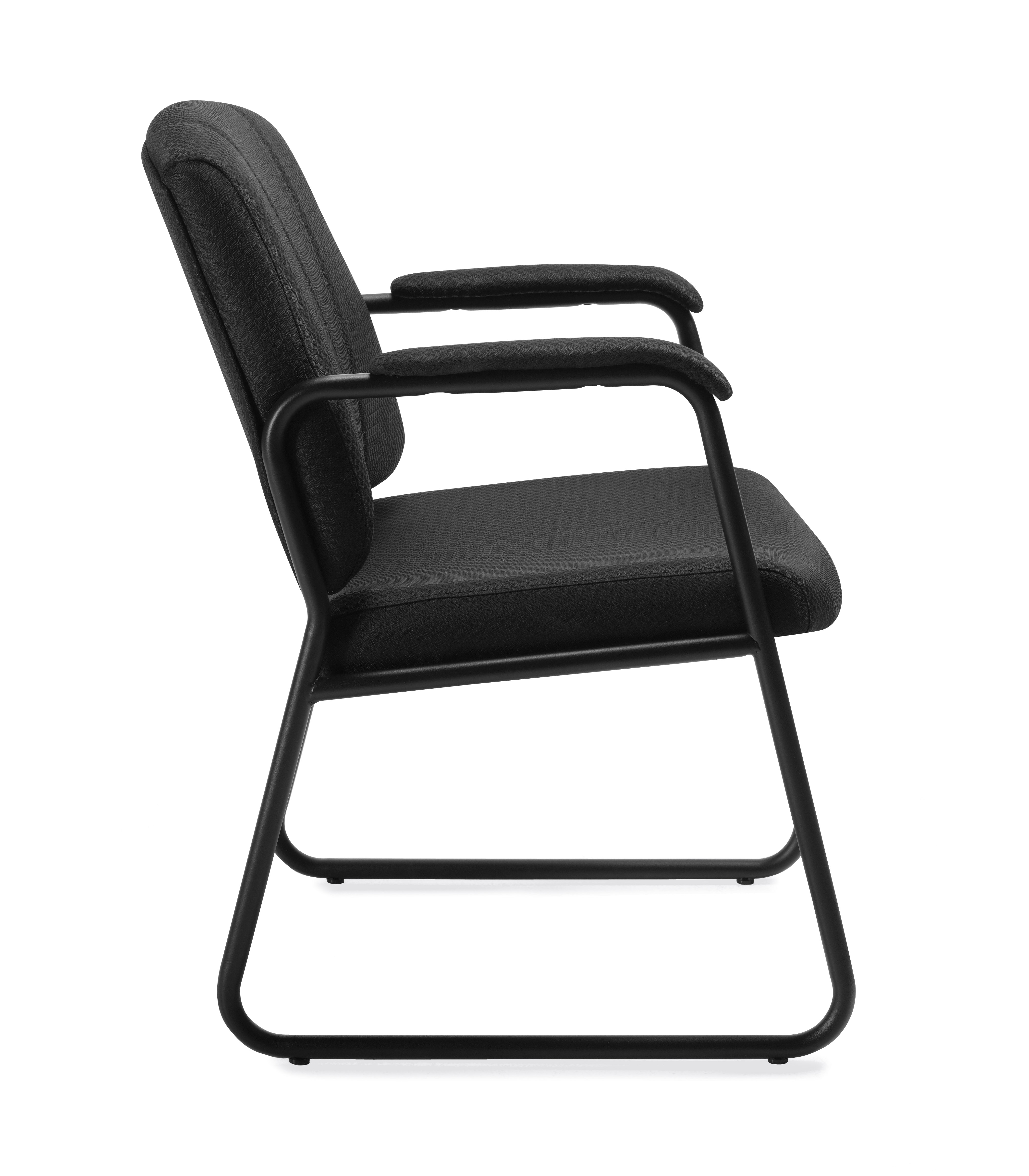 office chair leaning to one side safety 1st 5 piece childrens table and set offices go 11892 black fabric guest with arms