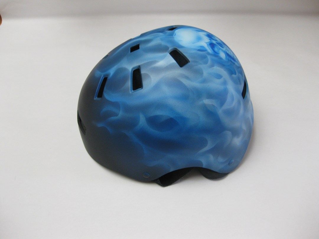 Blue Real Fire with Skull Helmet, side