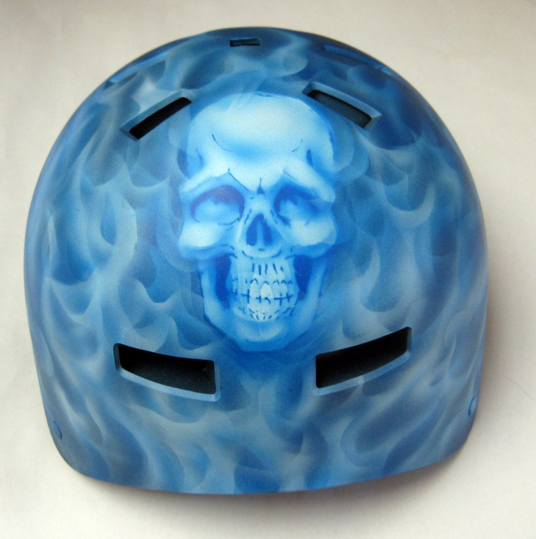 Blue Real Fire with Skull Helmet, back