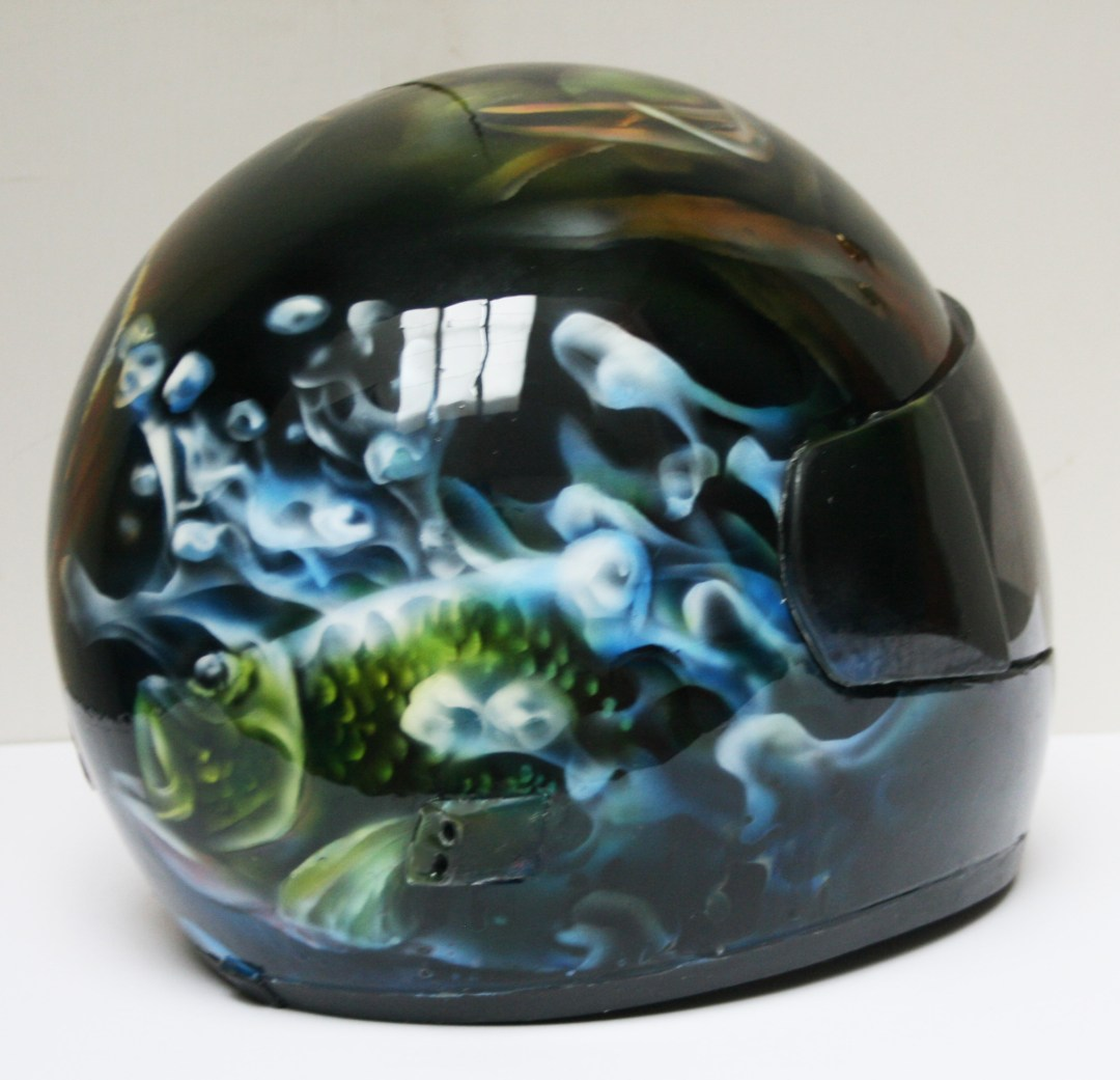 Wisconsin Wildlife Motorcycle helmet, airbrushed bass on side