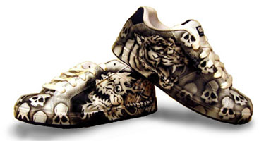 Airbrushed Tiger and Dragon Shoes
