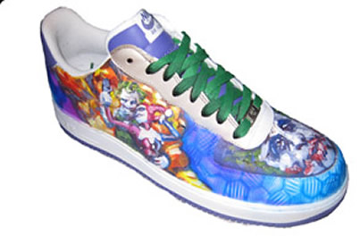 Airbrushed and Painted Joker and Harley Quinn Shoe