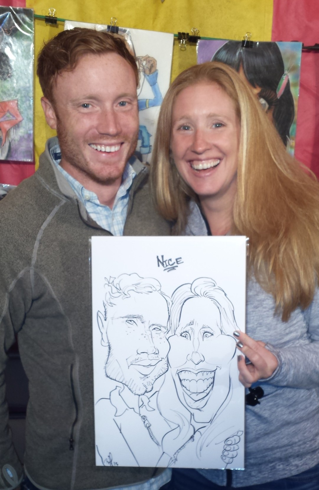 black and white Couple caricatures at Leinenkugel's Oktoberfest in Chippewa Falls WI