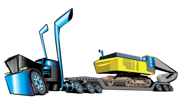 Finished-truck-excavator-proposal Vector Graphic Illustration