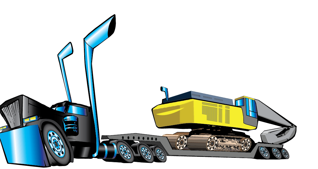 Exaggerated Truck and Excavator Vector Illustration