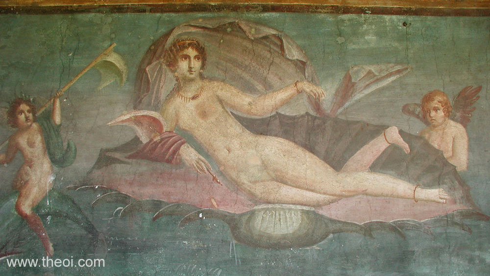 Birth of Venus (Aphrodite) with Cupid (Eros) & a Nereid | Roman fresco Pompeii