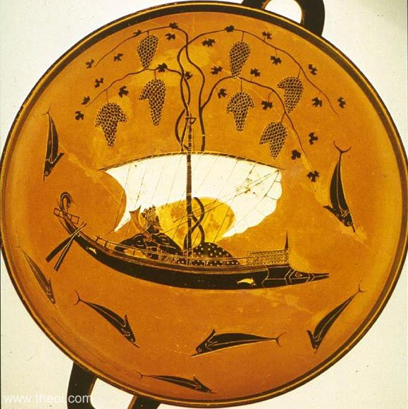 Dionysus on a ship & the Tyrrhenian pirates transformed into dolphins | Greek vase, Athenian black figure kylix