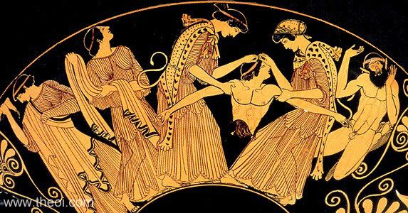 The death of Pentheus | Athenian red-figure kylix C5th B.C. | Kimball Art Museum, Fort Worth