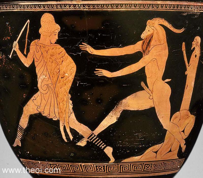 Shepherd pursued by a phallic Pan | Greek vase, Athenian red figure krater